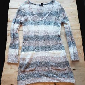 V-Neck Sweater Dress Multicolor
